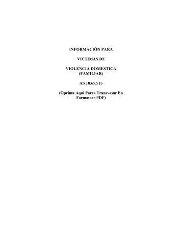 INFORMACIÓN PARA VICTIMAS DE VIOLENCIA DOMESTICA ...