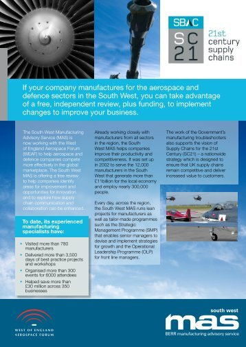 If your company manufactures for the aerospace and ... - SWMAS