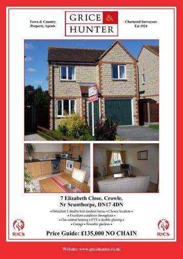 Price Guide: £140000 NO CHAIN 7 Elizabeth Close ... - Grice & Hunter