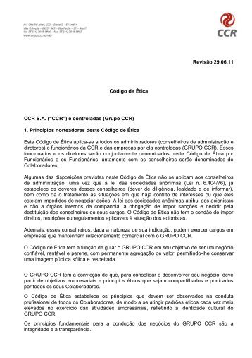 Código de Ética - Grupo CCR