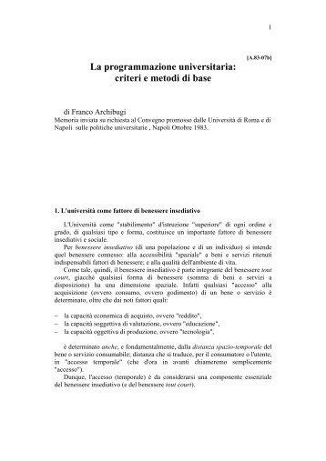 La programmazione universitaria: criteri e metodi ... - Franco Archibugi