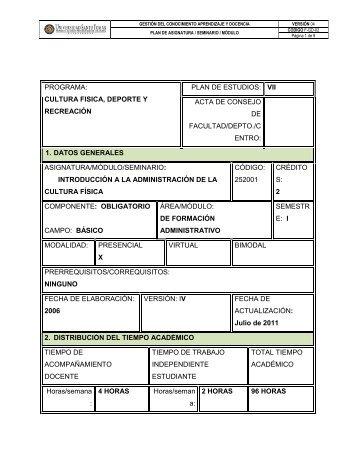 PROGRAMA: CULTURA FISICA, DEPORTE Y RECREACIÓN PLAN ...