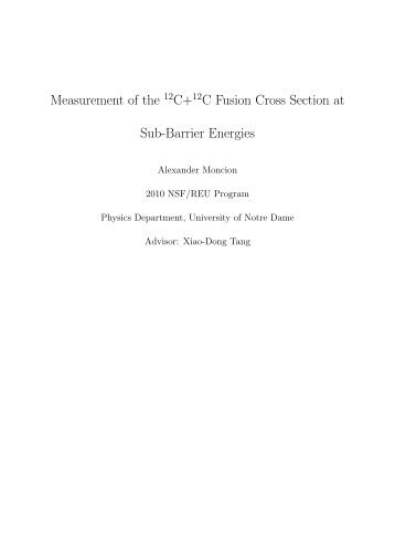 Measurement of the C+ C Fusion Cross Section at Sub-Barrier ...
