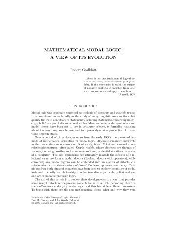 MATHEMATICAL MODAL LOGIC: A VIEW OF ITS EVOLUTION