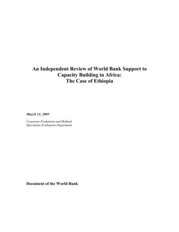 An Independent Review of World Bank Support to ... - DAG Ethiopia