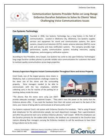 Cox Communication Systems - Case Study - EnGenius Technologies