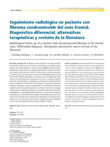 Radiological follow-up of a patient with ... - SciELO España