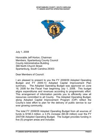 Transmittal Letter - Spartanburg County