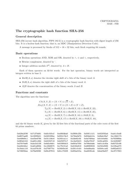 The cryptographic hash function SHA-256