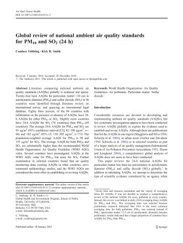 Global review of national ambient air quality standards for PM10 and ...
