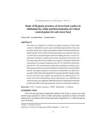 Study of Hygienic practices of street food vendors in ... - Shiats.edu.in