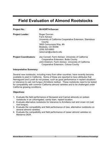Field Evaluation of Almond Rootstocks - Almond Board of California