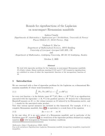 Bounds for eigenfunctions of the Laplacian on noncompact ...