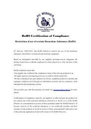 RoHS Certification of Compliance - pc winner international inc.