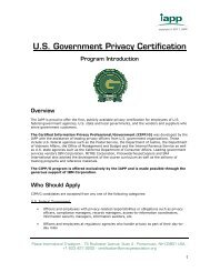 U.S. Government Privacy Certification - International Association of ...