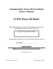 LVWO Waste Oil Boiler - Columbia Heating