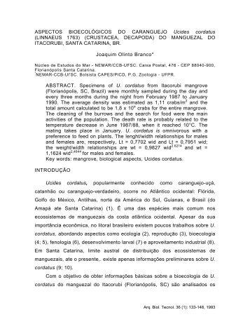 ASPECTOS BIOECOLbGICOS DO CARANGUEJO Ucides cordatus ...