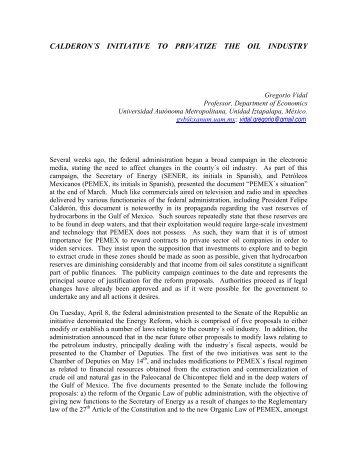 Pemex Calderon's initiative