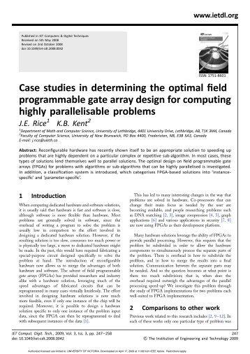 Case studies in determining the optimal field programmable gate ...