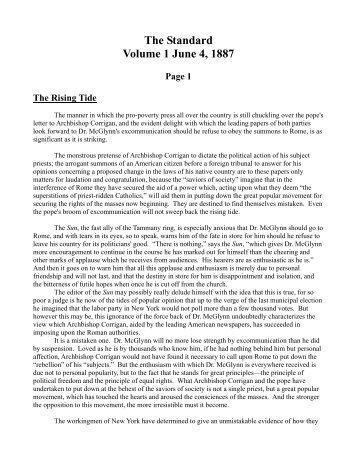 The Standard Volume 1 June 4, 1887 - Henry George, The Standard