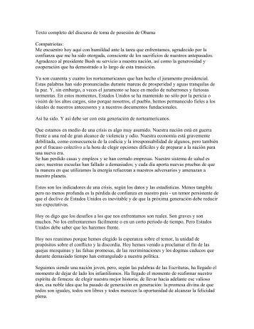 Texto completo del discurso de toma de posesión de Obama - Tria