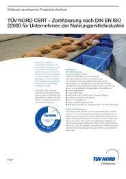 Zertifizierung nach DIN EN ISO 22000 für Unternehmen ... - TÜV Nord