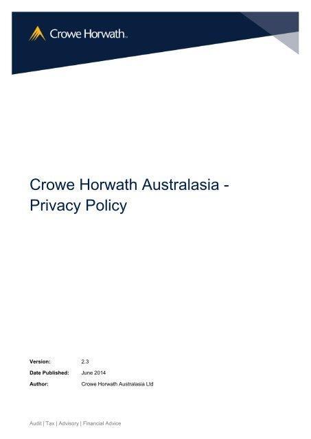 Privacy Policy - Crowe Horwath International