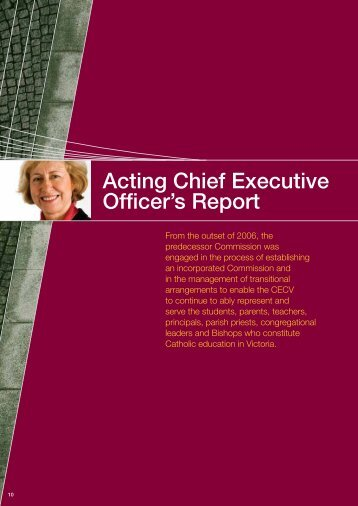 Acting Chief Executive Officer's Report - Catholic Education ...