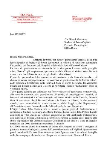 On. Gianni Alemanno Sindaco di Roma Capitale P.zza del ... - Ospol
