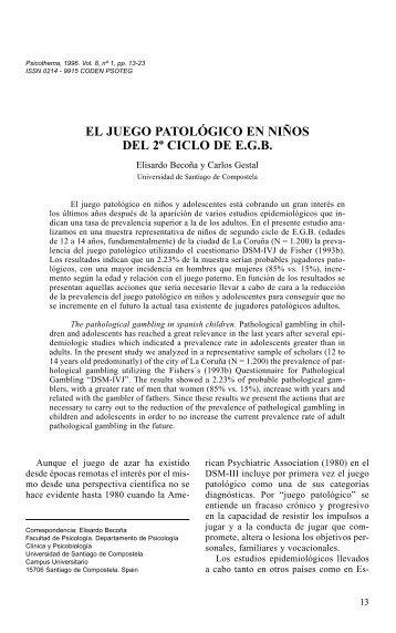 El Juego Patológico em Niños del 2º Ciclo de E.G.B. - Jogo Remoto