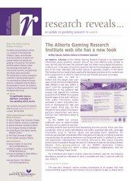 Issue 6, Volume 3 - Aug / Sep 2004 - Alberta Gambling Research ...