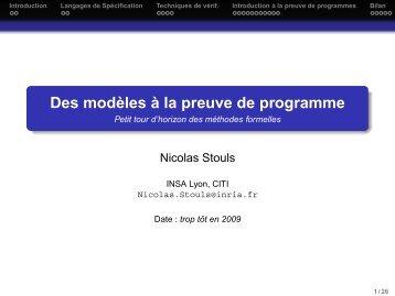 Des modèles à la preuve de programme - Petit tour d'horizon des ...