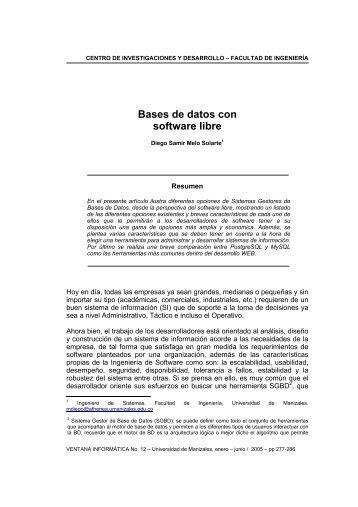 Bases de datos con software libre - Universidad de Manizales