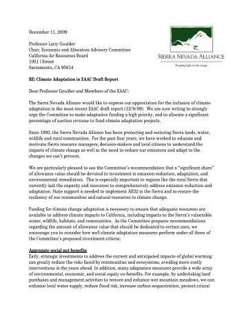 2009-12-21 Sierra Nevada Alliance.pdf - California Climate Change ...