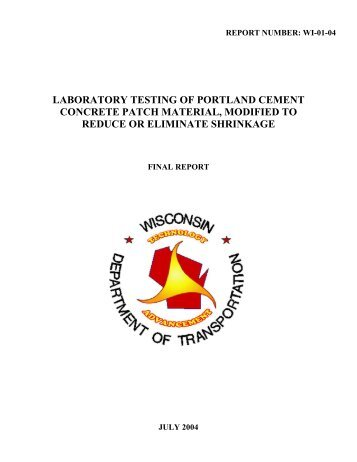 DateLaboratory Testing of Portland Cement Concrete Patch Material ...