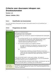 Criteria voor duurzaam inkopen van Drankautomaten - Pianoo
