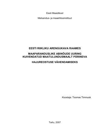 Maaparanduslike abinõude uuring kuivendatud maatulundusmaalt