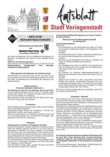 Notruf-Telefonnummern - Veringenstadt