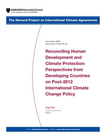 Reconciling Human Development and Climate Protection ...