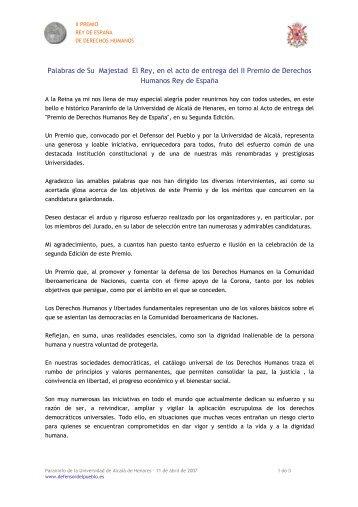 S.M. el Rey Juan Carlos I - Premio Derechos Humanos Rey de ...