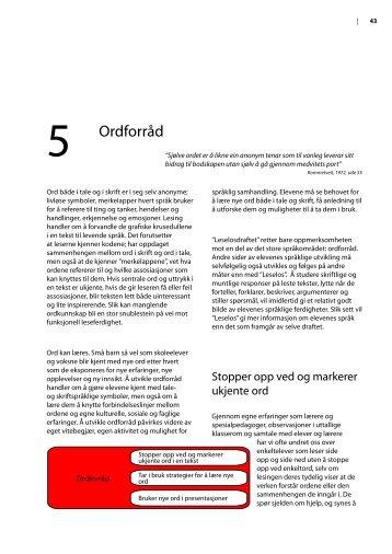 Kapittel 5 Ordforråd (pdf-format - 394 kb) - Lesesenteret