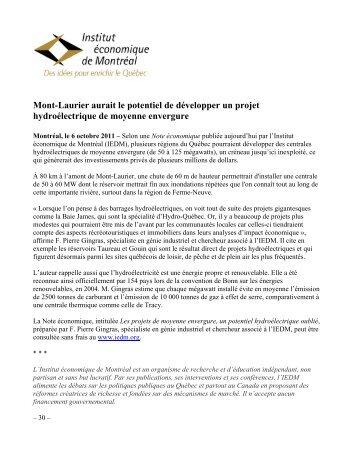 Mont-Laurier aurait le potentiel de développer un projet ... - IEDM