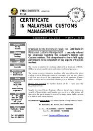 certificate in malaysian customs management - Federation of ...