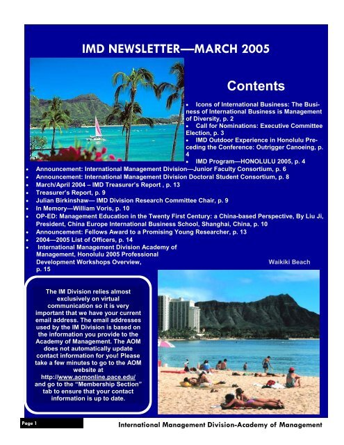 IMD NEWSLETTER—MARCH 2005 Contents - Academy of ...