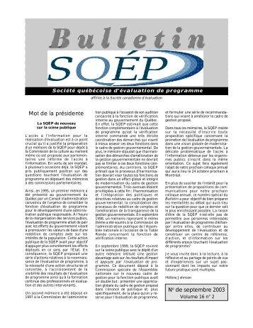 Vol. 16, no 2 - La Société québécoise d'évaluation de programme