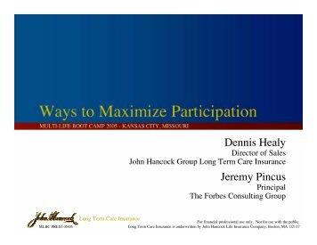 Ways to Maximize Participation - Long Term Care Insurance