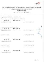 Lista provisional de aspirantes excluidos - Universidad Pública de ...