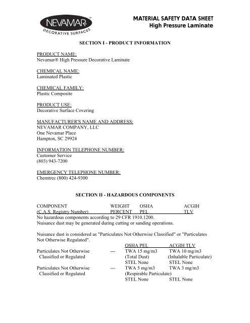 HPL Material Safety Data Sheet - Panolam