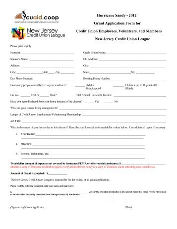 Grant Application - New Jersey Credit Union League
