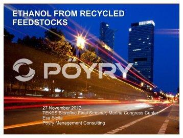 Ethanol from recycled feedstocks - Tekes